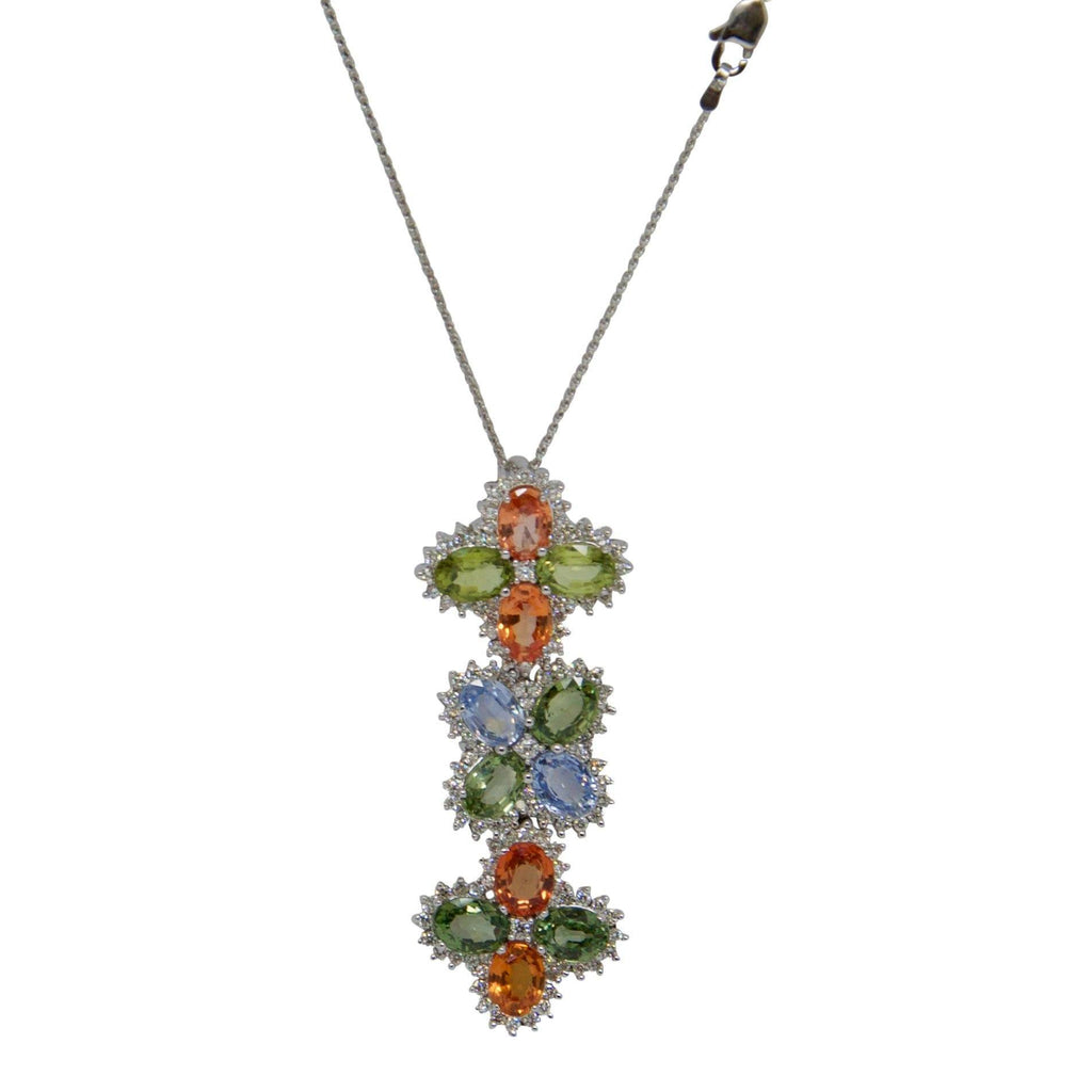 Multi Colour Sapphire and Diamond Pendant Necklace Necklaces Miscellaneous