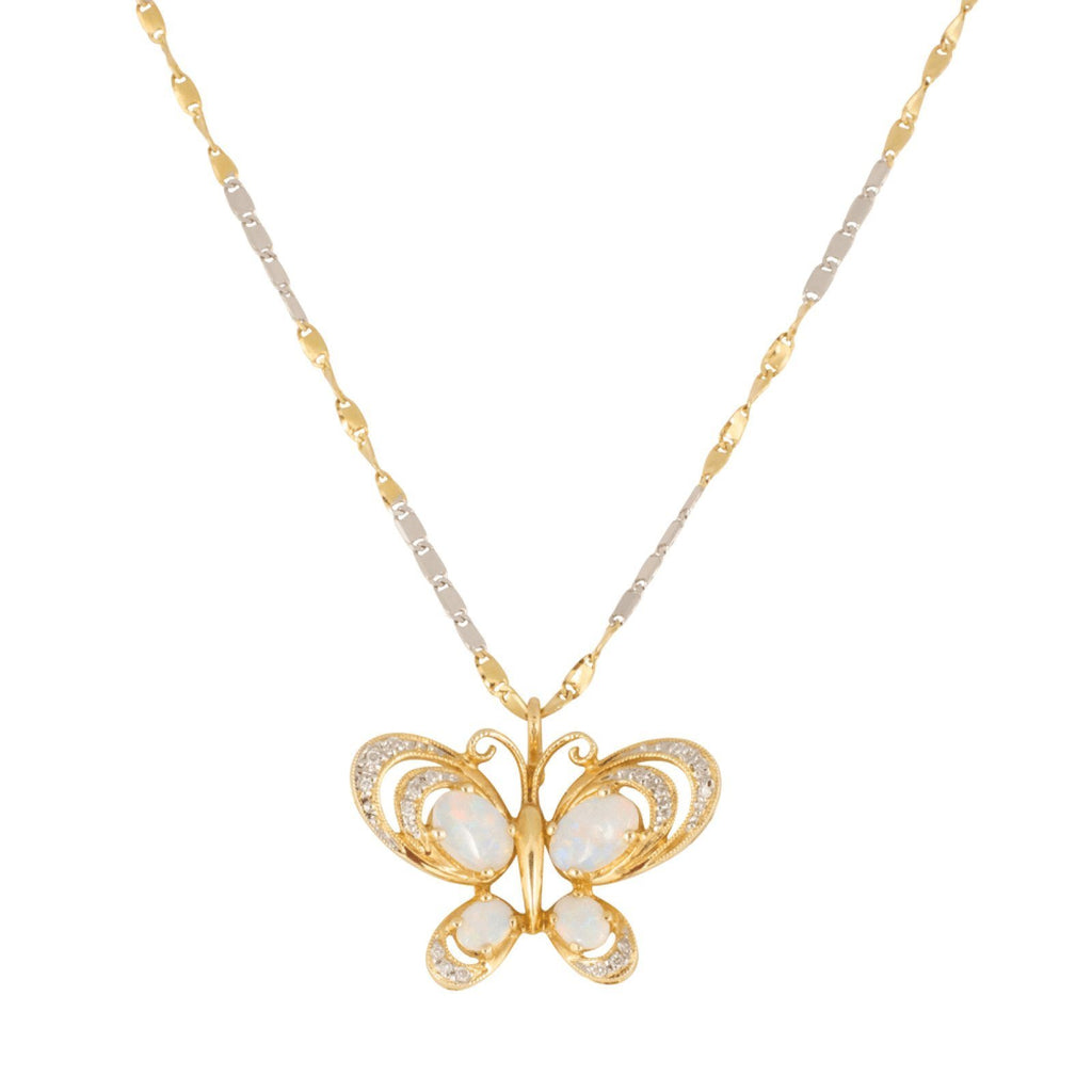 Opal and Diamond Butterfly Pendant Necklace Necklaces Miscellaneous