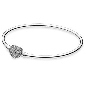 Pandora Always in My Heart Bangle with Pave CZ Heart Clasp, 19 cm
