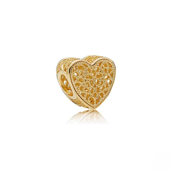 Pandora 18k Gold Plated Sterling Silver Filigree and Beaded Heart Charm Charms & Pendants Pandora