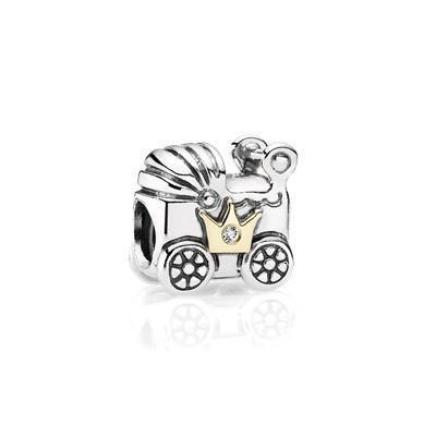 Pandora 2-Tone Baby Carriage with Clear CZ Charms & Pendants Pandora
