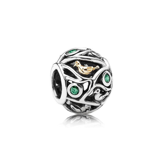 Pandora 2-Tone Birds of a Feather Charm with Green CZ Charms & Pendants Pandora