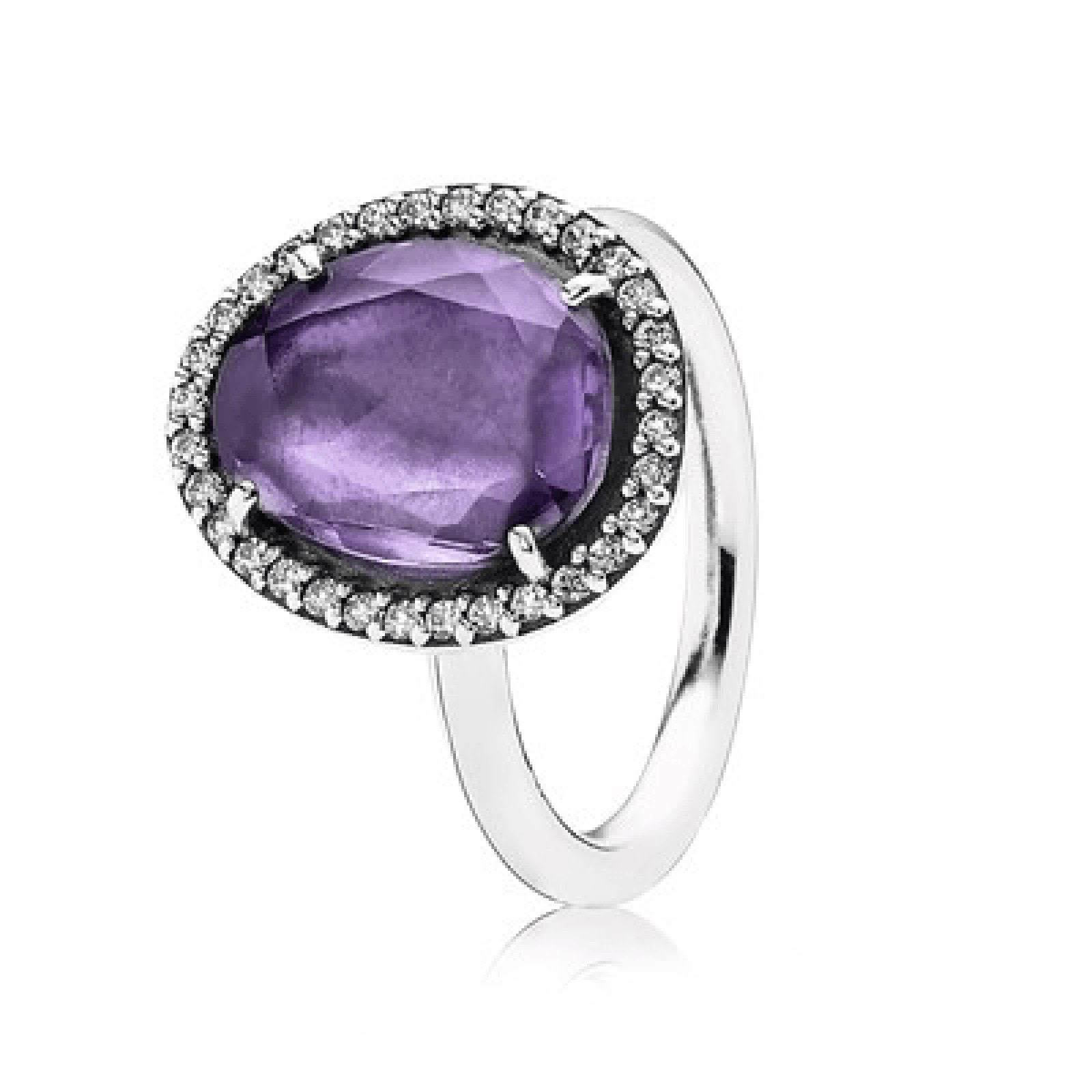 9f6cd66d4 Pandora Glamorous Legacy Ring in Sterling Silver Set with Purple Amethyst  and Clear CZ Rings Pandora