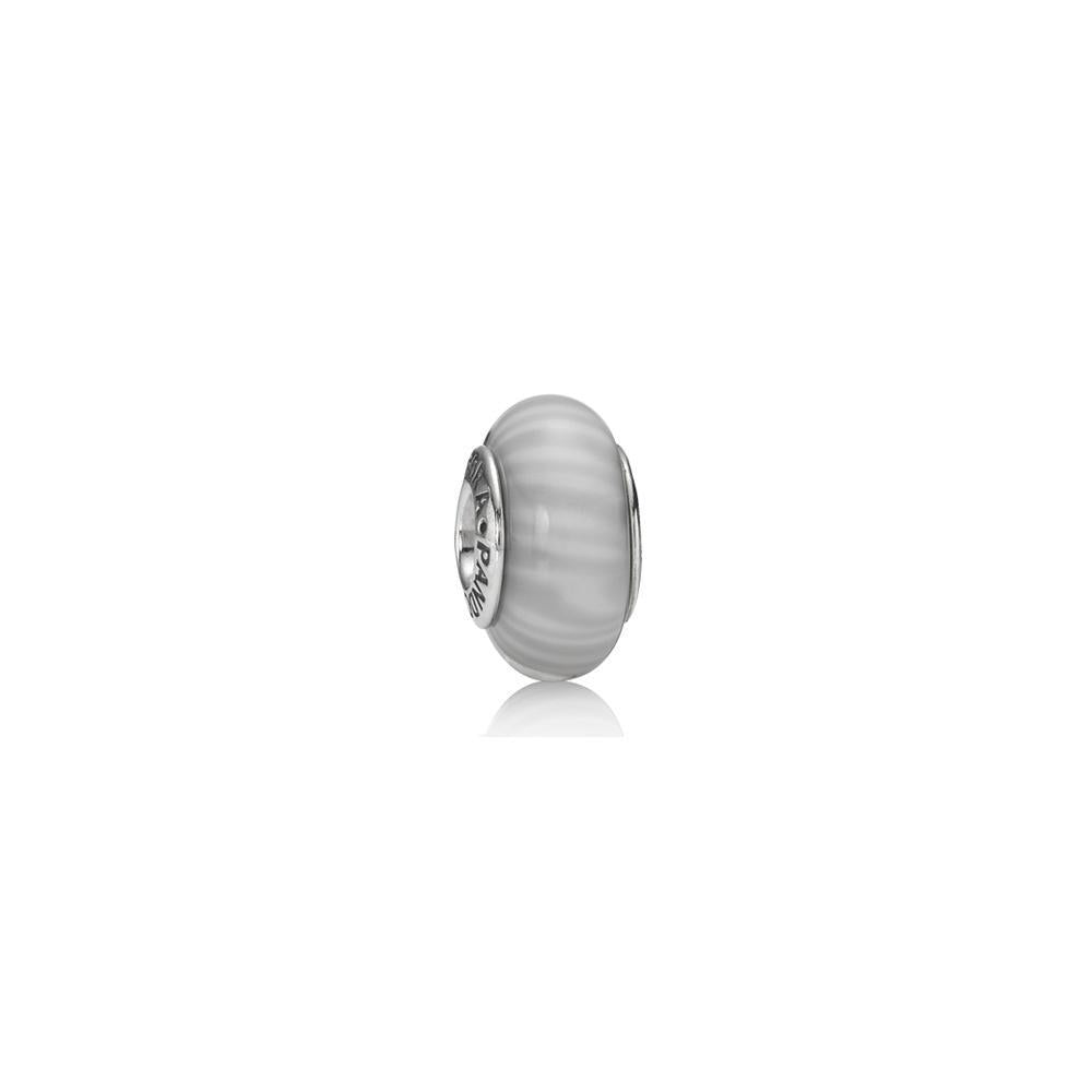 Pandora Grey Candy Stripes Murano Glass Charm Charms & Pendants Pandora