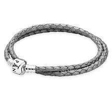 Pandora Grey Double Braided Leather Bracelet, 38 cm Long Bracelets Pandora