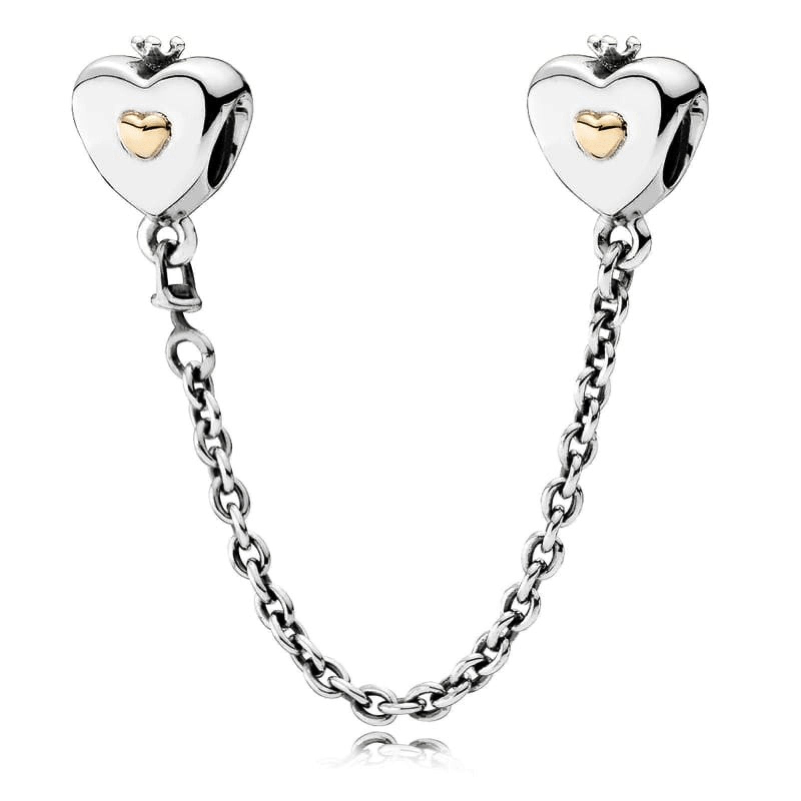 1c916bb1d Pandora Heart and Crown Safety Chain in Sterling Silver and 14kt Yellow  Gold Charms & Pendants