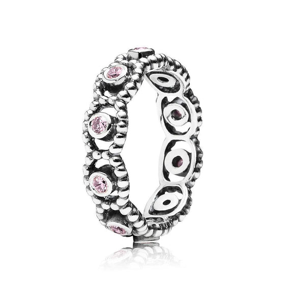 Pandora Her Majesty Stackable Ring with Pink CZ Size 6 1/2 Rings Pandora
