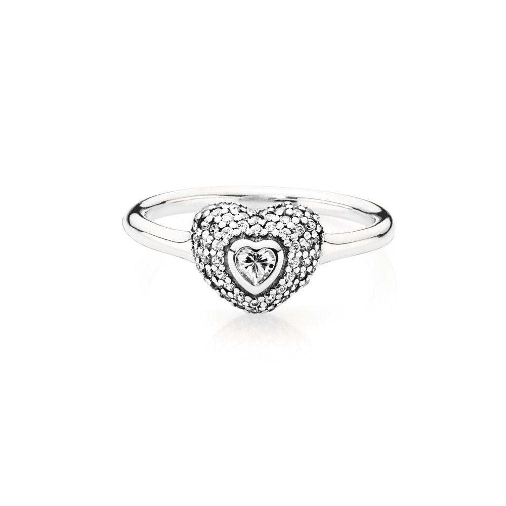 Pandora In My Heart Pave Ring, Size 7 1/2 Rings Pandora