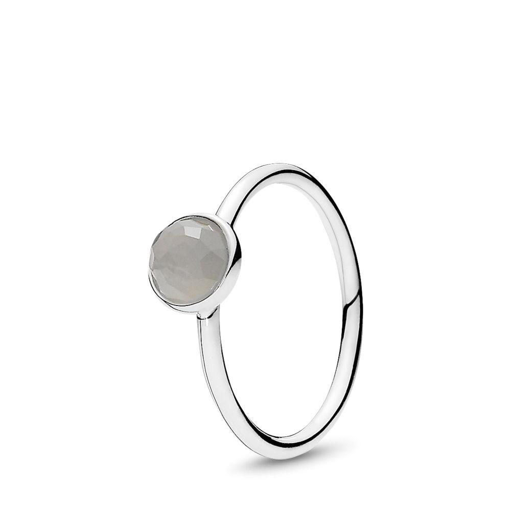 Pandora June Droplet Ring with Grey Moonstone, Size 8 1/4 Rings Pandora
