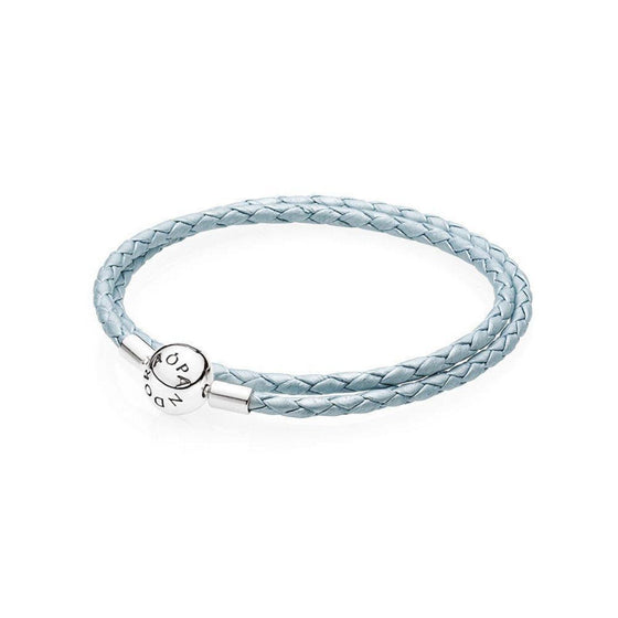 Pandora Light Blue Braided Double-Leather Charm Bracelet Bracelets Pandora