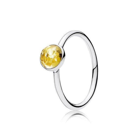 Pandora November Droplet Ring with Citrine, Size 8 1/2 Rings Pandora
