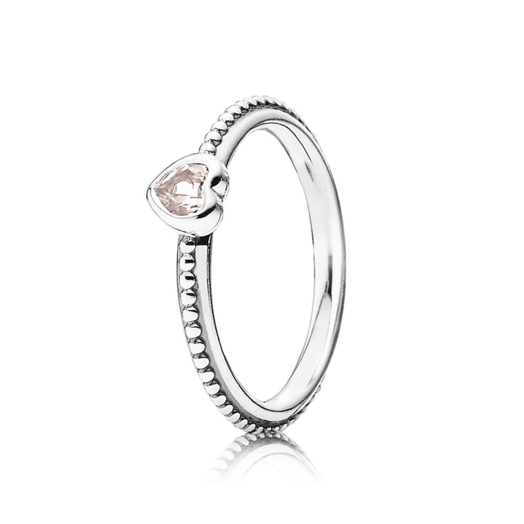 Pandora One Love Ring with Rose-Pink Synthetic Sapphire, Size 5 1/4