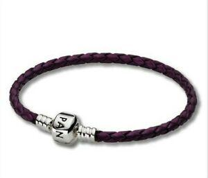 Pandora Purple Braided Leather Bracelet 18 cm Bracelets Pandora