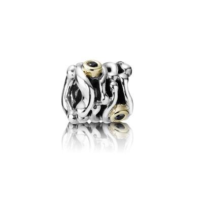 Pandora Two-Tone Funny Bone Charm with Black Diamonds Charms & Pendants Pandora