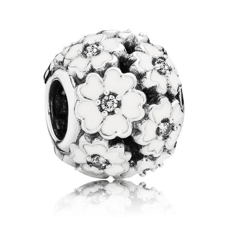 Pandora Primrose Meadow Charm with White Enamel Charms & Pendants Pandora