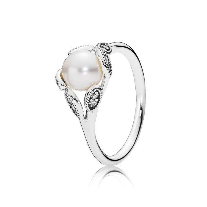 Pandora Luminous Leaves Ring with Pearl & Clear CZ, Size 7 1/2