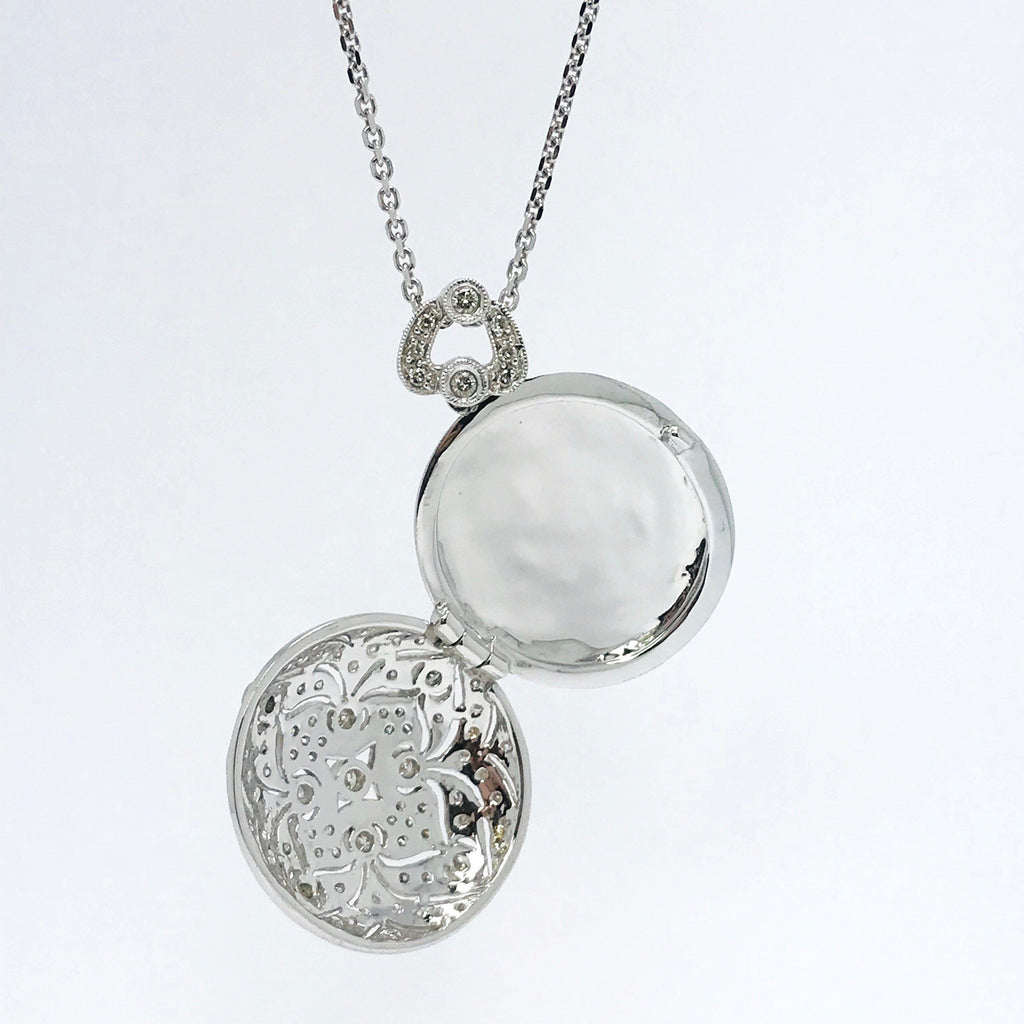 Pave Diamond Oval Locket Pendant - Charms & Pendants