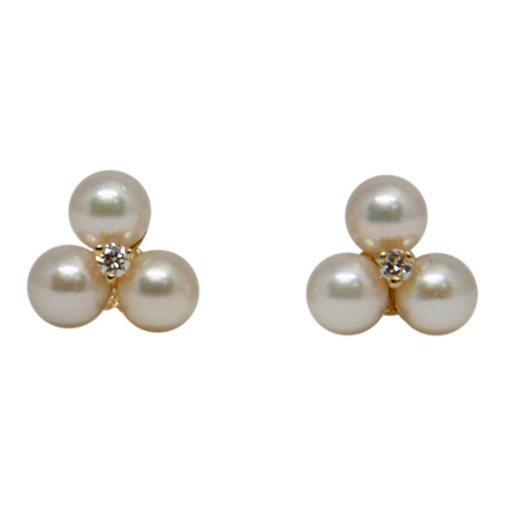 Pearl and Diamond Cluster Earrings Earrings Miscellaneous