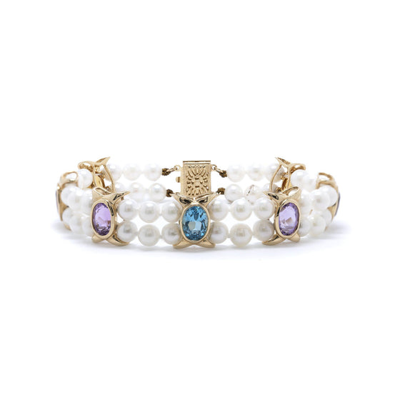 Pearl and Multi-Coloured Stone Bracelet Bracelets Miscellaneous