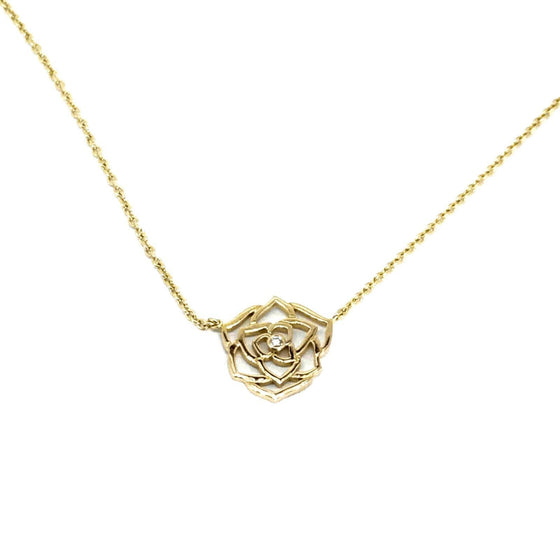 "Piaget Diamond Rose Pendant On a 16"" Chain Necklaces Piaget"
