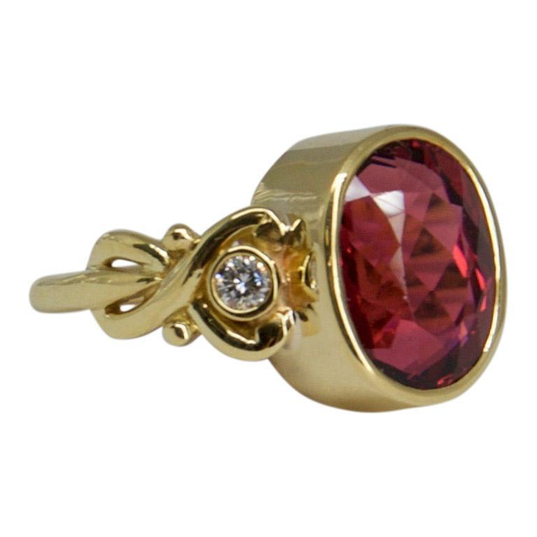 Pink Tourmaline and Diamond Ring Rings Miscellaneous