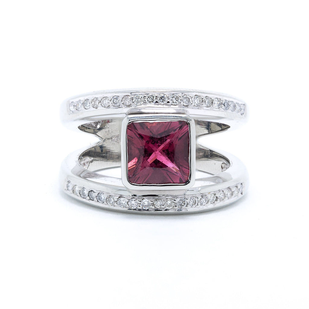 Pink Tourmaline & Diamond Ring Rings Miscellaneous