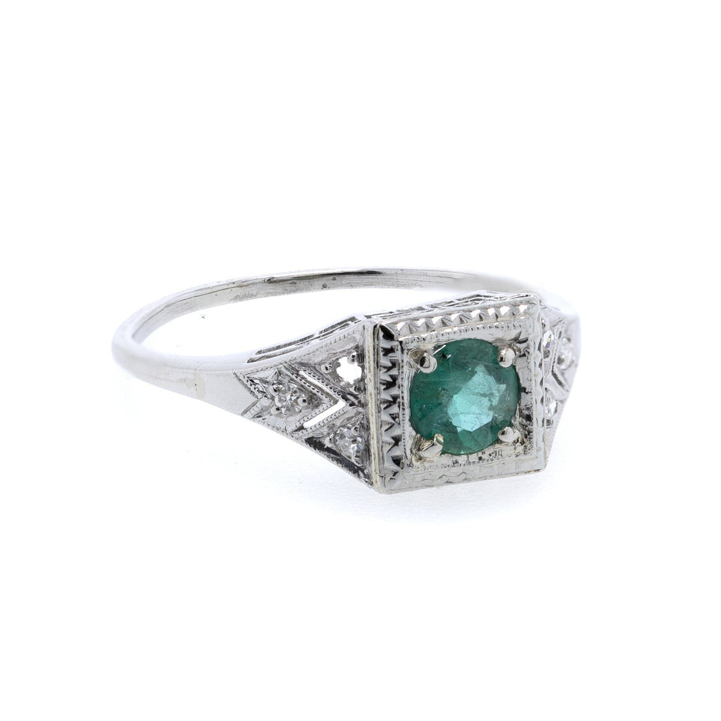 Platinum Emerald and Diamond Ring Rings Miscellaneous