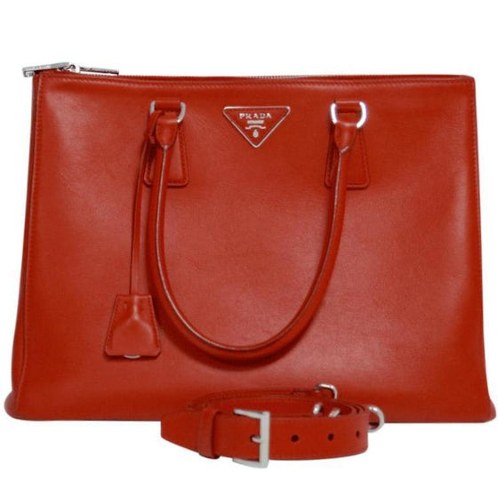 Prada Red Large City Calf Galleria Zip Tote Bags Prada