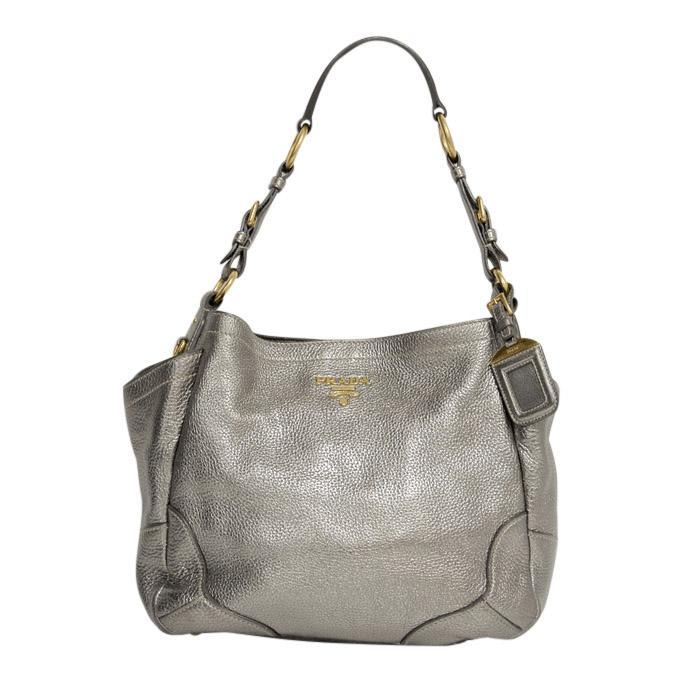 Prada Silver Metallic Peltro Vitello Daino Pocket Tote Bag Bags Prada