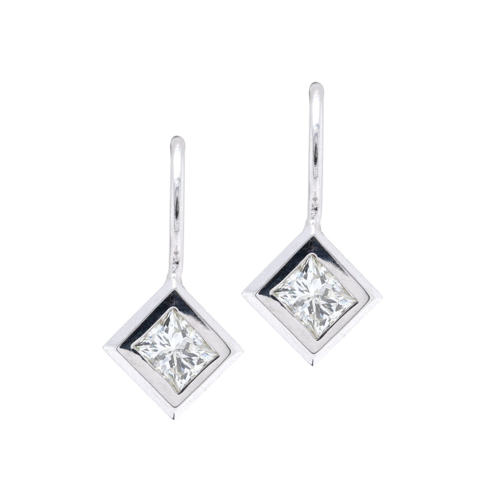 Princess Cut Diamond Solitaire Earrings Earrings Miscellaneous