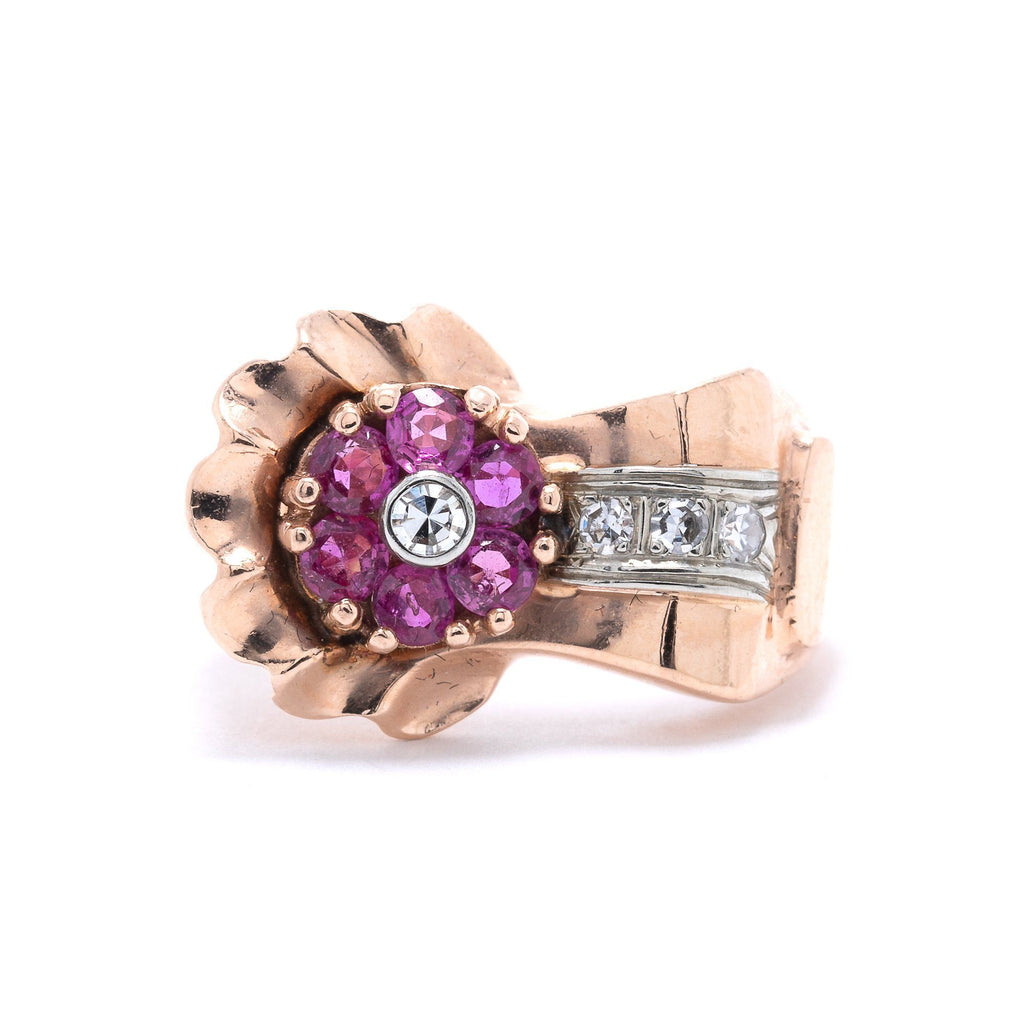 Rose Gold Ruby and Diamond Cocktail Ring Rings Miscellaneous