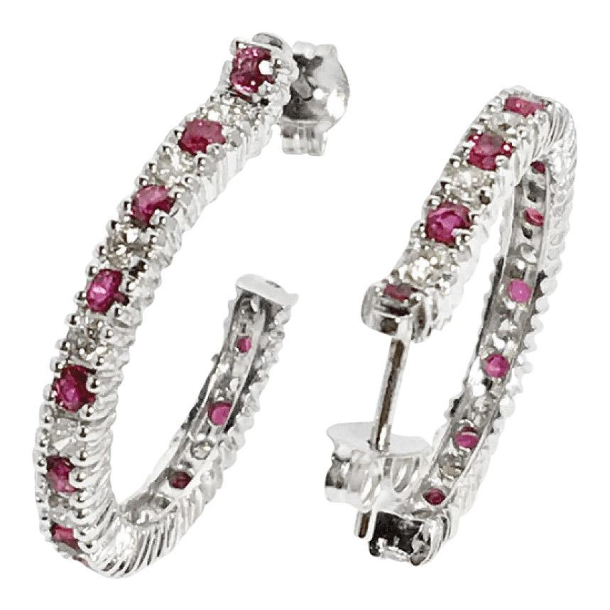 Ruby and Diamond Huggie Earrings Earrings Miscellaneous