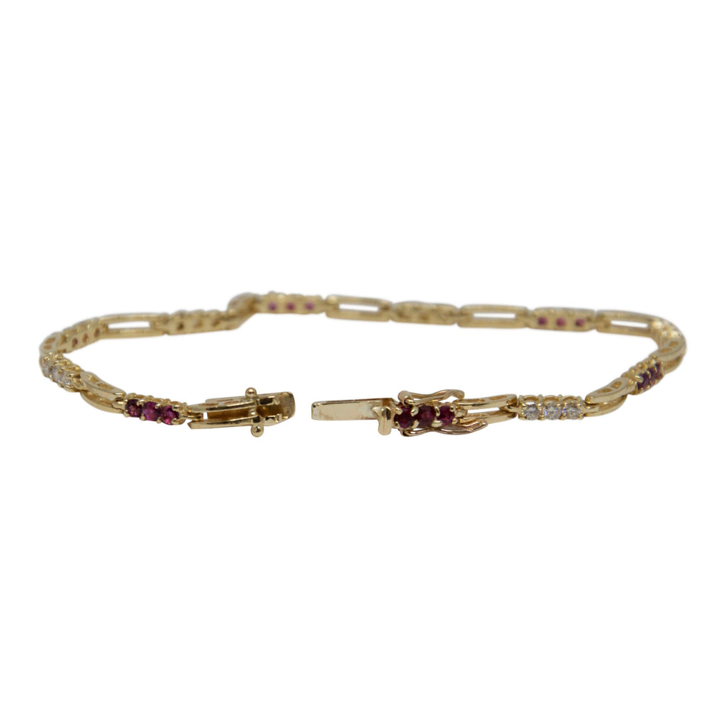 Ruby and Diamond Link Bracelet Bracelets Miscellaneous