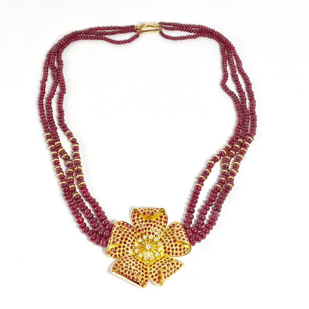 Ruby Bead Necklace Necklaces Miscellaneous