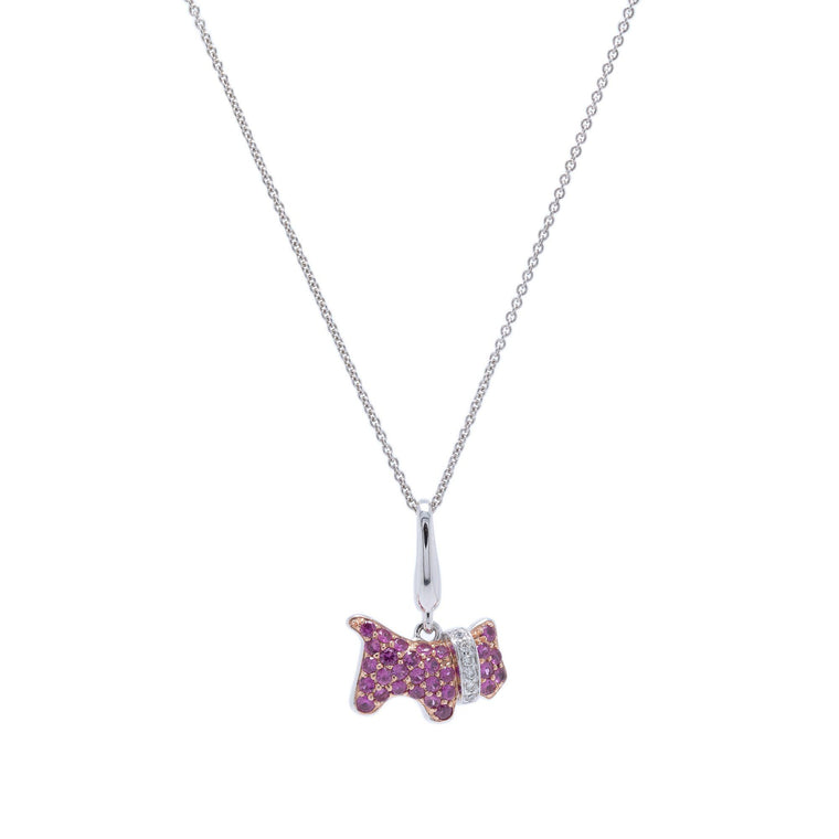 Ruby & Diamond Dog Pendant Necklace Necklaces Miscellaneous