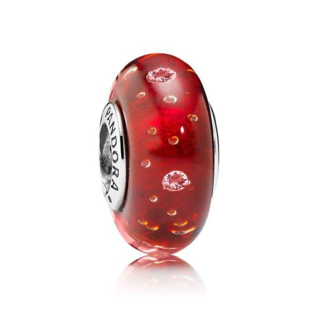 Pandora Red Effervescence Charm with Clear CZ