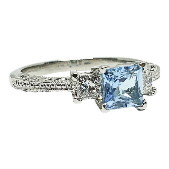 Tacori Blue Topaz and Diamond Engagement Ring Rings Miscellaneous