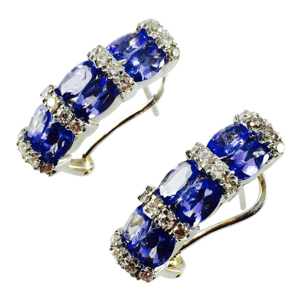 Tanzanite And Diamond Earrings - Earrings
