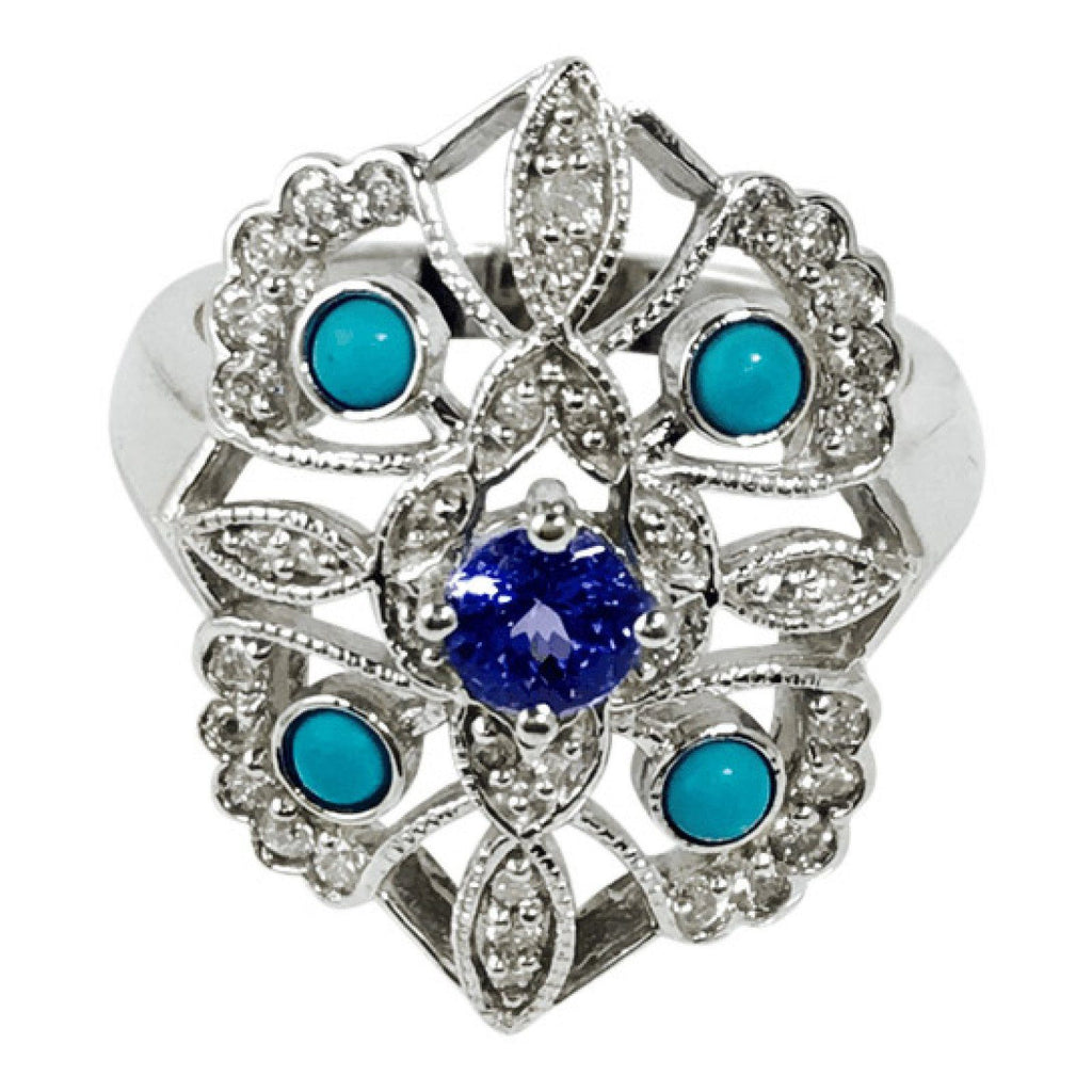 Tanzanite, Turquoise and Diamond Ring Rings Miscellaneous