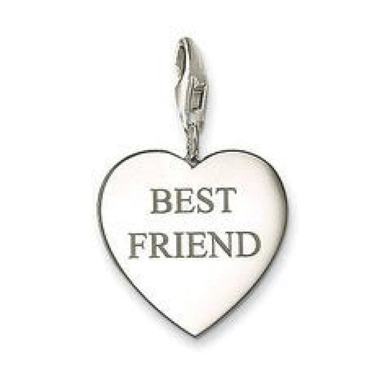 Thomas Sabo Best Friend Heart Charm In Sterling Silver - Charms & Pendants