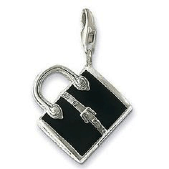 Thomas Sabo Handbag Charm In Sterling Silver And Black Enamel - Charms & Pendants