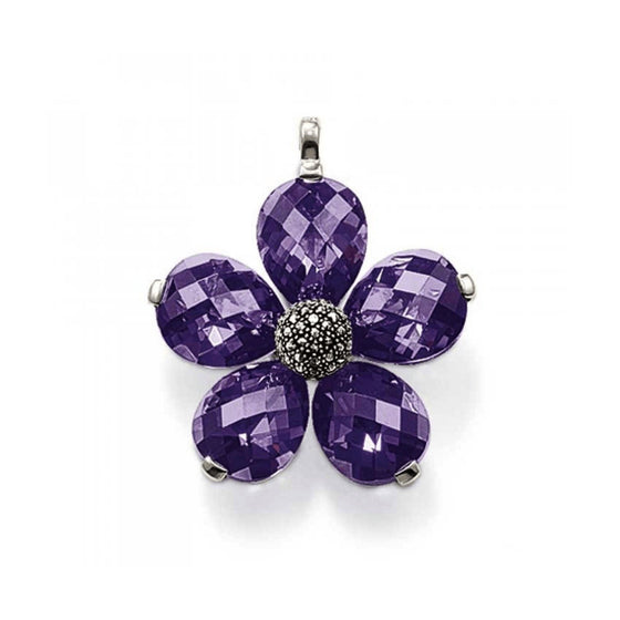 Thomas Sabo Large Purple Crystal Flower Pendant In Sterling Silver - Charms & Pendants