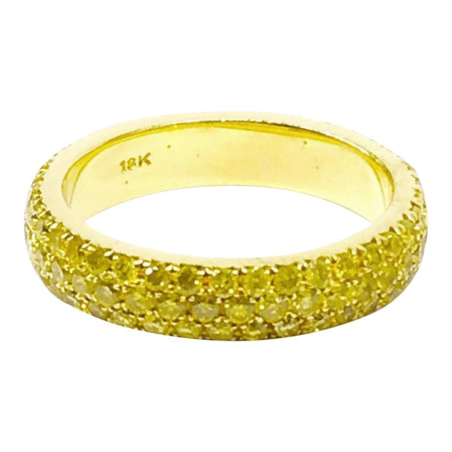 Three Row Pave Natural Fancy Yellow Diamond Band Rings Miscellaneous
