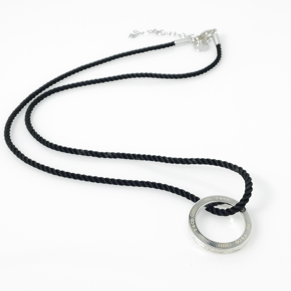 Tiffany co 1837 circle pendant on an adjustable black cord 1837 circle pendant on an adjustable black cord necklace necklaces aloadofball Images