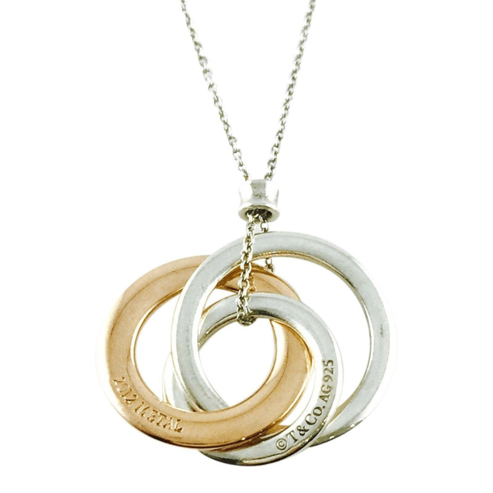 dbb6e1d03 Tiffany & Co 1837 Interlocking Circles Pendant in Sterling Silver and Rubedo  Metal Necklaces Tiffany ...