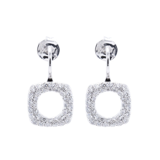 Tiffany & Co. 18k White Gold Diamond Cushion Drop Earrings Earrings Tiffany & Co.
