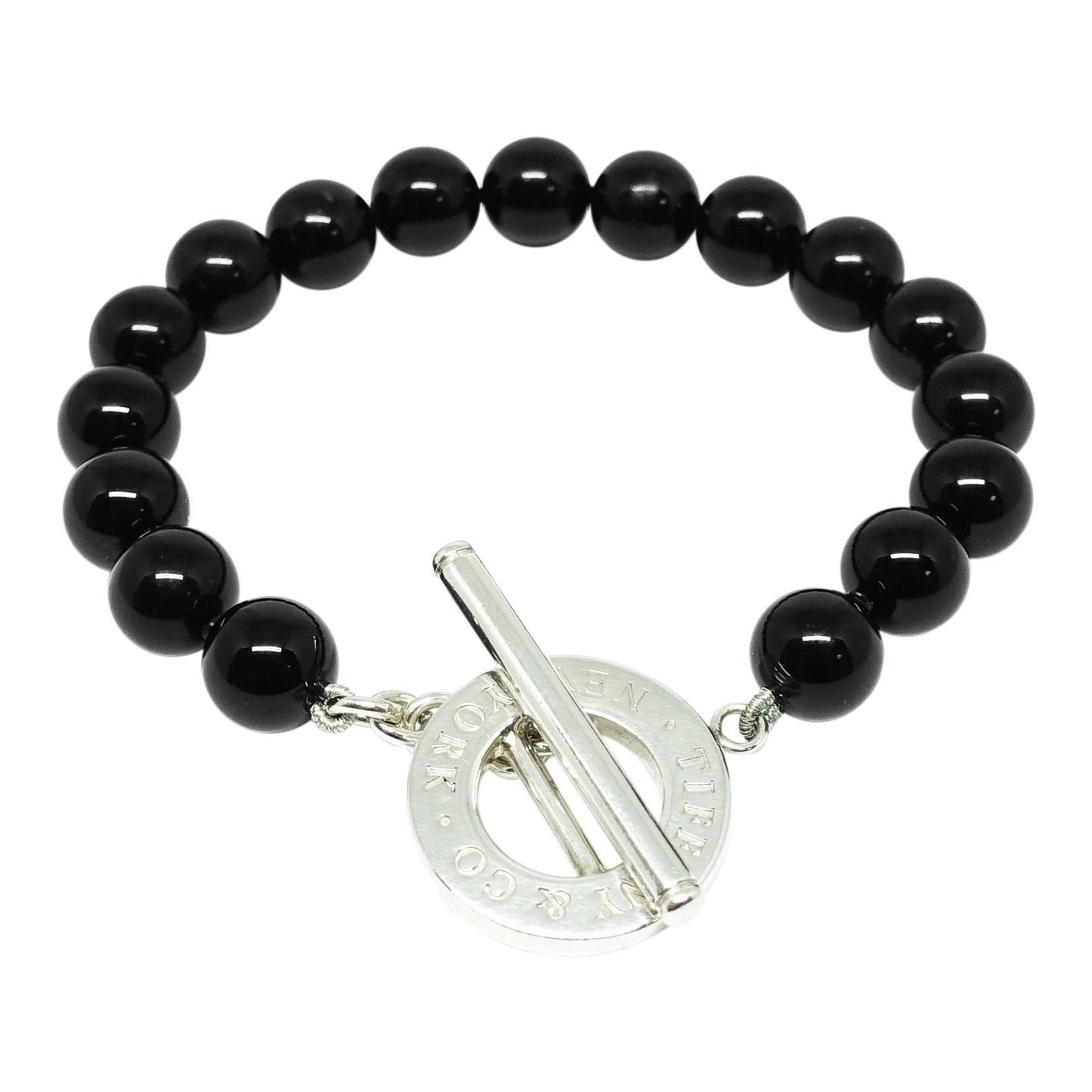 a69c4d4c78c70 Tiffany & Co. Black Onyx Bead Bracelet with Sterling Silver Toggle Clasp