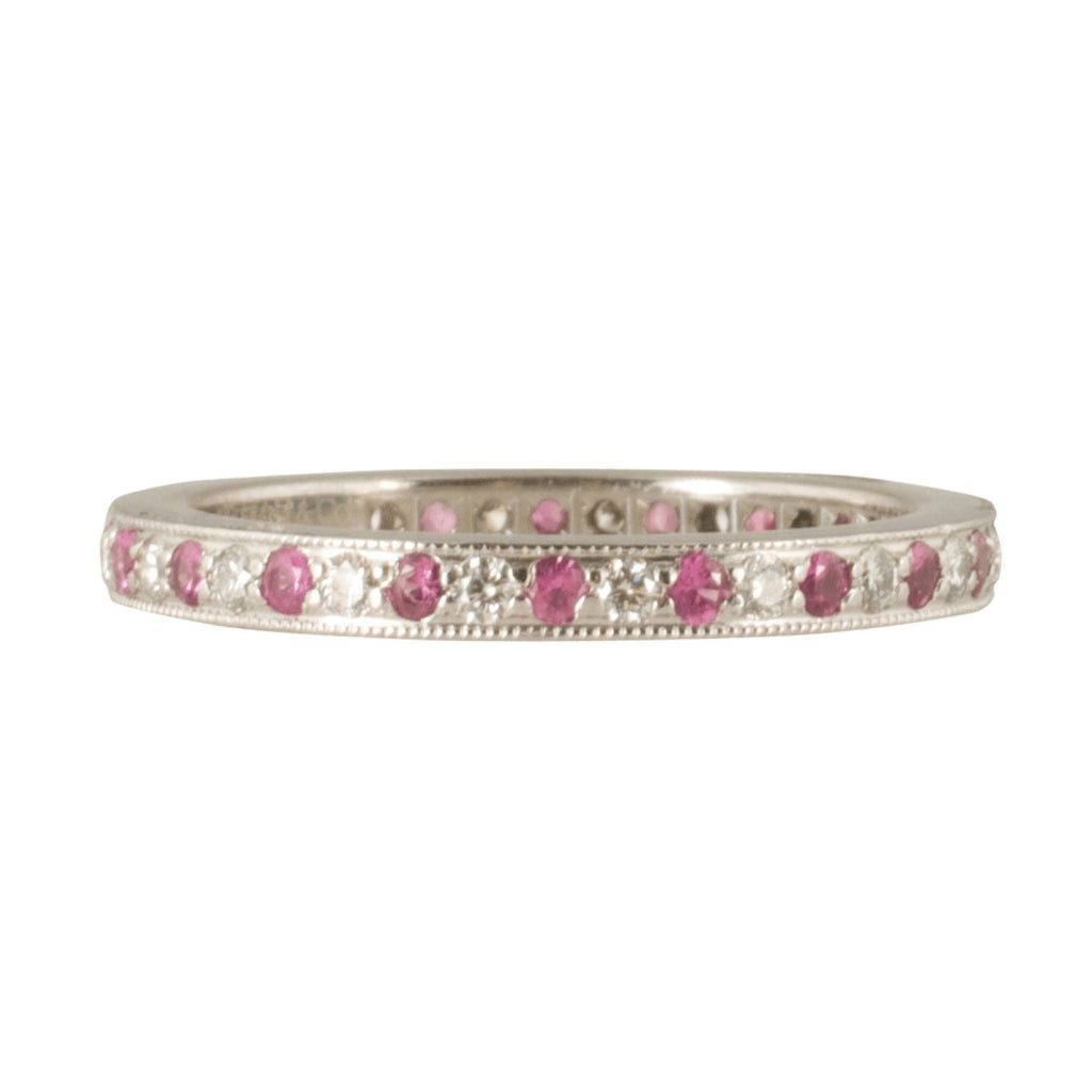 Tiffany & Co. Diamond And Pink Sapphire Eternity Band - Rings