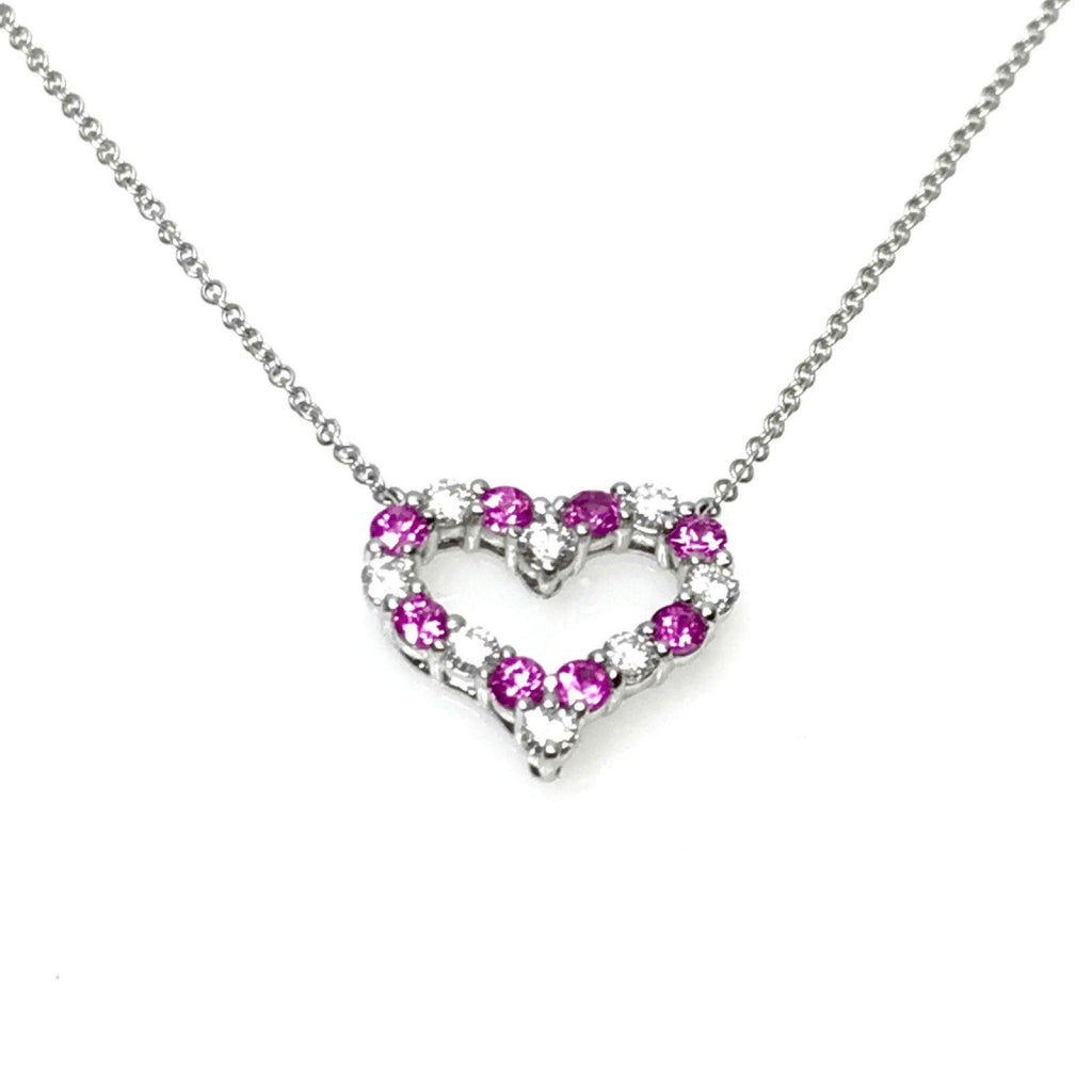 Tiffany & Co. Diamond and Pink Sapphire Hearts Pendant Necklace Necklaces Tiffany & Co.
