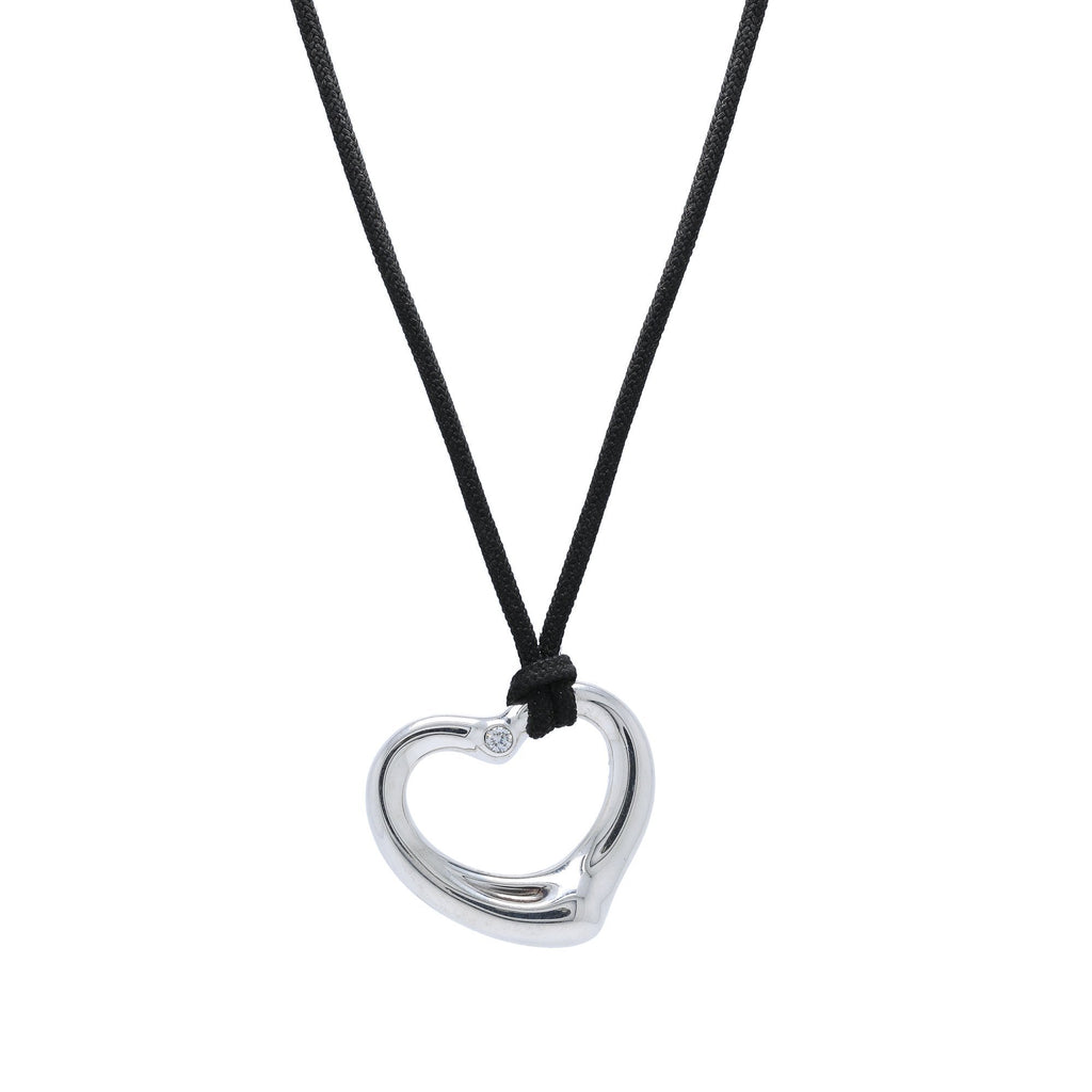 Tiffany & Co. Elsa Peretti Open Heart Pendant Necklace with Diamond Necklaces Tiffany & Co.